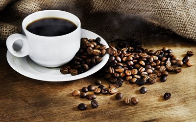 black coffee, white cup, coffee beans, bag, coffee