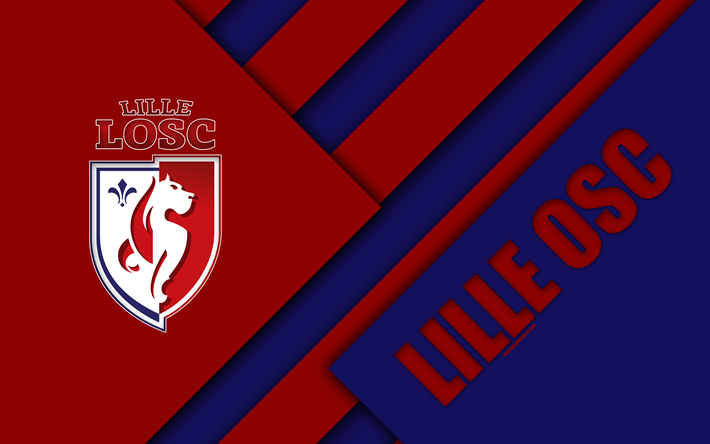 Download wallpapers Lille OSC, 4k, material design, red ...