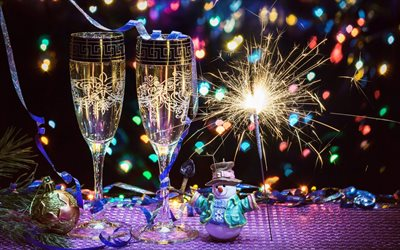 New Year, champagne, 2018, Bengal lights, Christmas, glasses of champagne