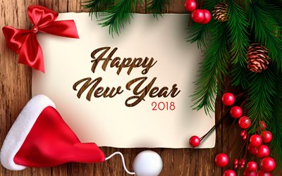 Happy New Year, 2018, 3d paper, congratulation, Christmas, Christmas tree