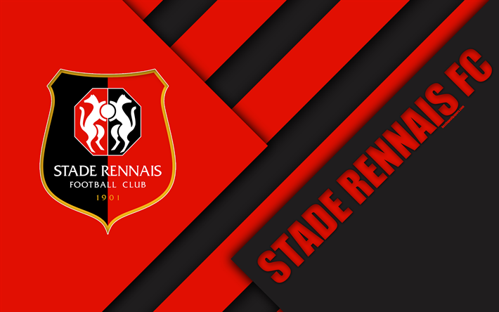 Download wallpapers stade rennais fc 4k material design logo french football club black red - Stade rennais logo ...