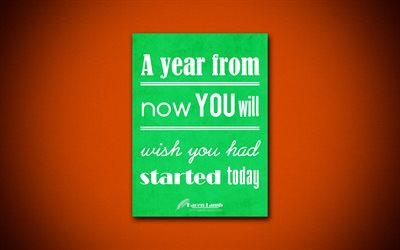 A year from now you will wish you had started today, 4k, business quotes, Karen Lamb, motivation, inspiration