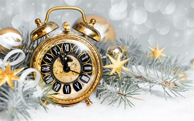 New Year, old gold watch, 2018, midnight, Christmas tree, snow, winter, time