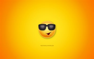 Smile in black glasses, yellow background, emotions smiles, funny art, emotions