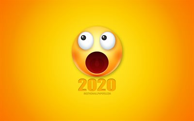 Happy New Year 2020, funny art, joy 2020 background, 2020 concepts, yellow background, 3d smiles, 2020 New Year