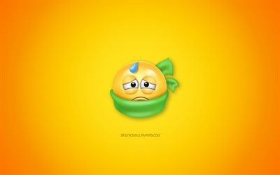 I am sick, yellow background, 3d icons, 3d smiley, concepts