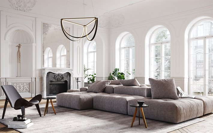 Download Wallpapers White Living Room Classic Style Gray Sofa