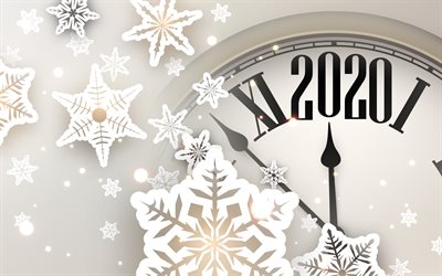 2020 with clock, 4k, snowflakes, Happy New Year 2020, xmas decorations, 2020 abstract art, 2020 concepts, 2020 on white background, 2020 year digits