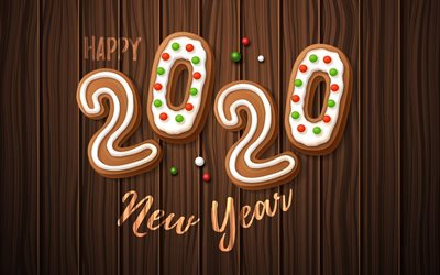 Happy New Year 2020, Christmas cookies, 2020 wooden background, 2020 cartoon background, 2020 concepts, 2020 New Year