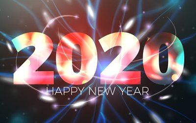 2020 with neon rays, 4k, abstract art, Happy New Year 2020, xmas decorations, 2020 abstract art, 2020 concepts, 2020 on blue background, 2020 year digits