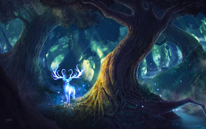4k, deer, night, magic forest, art