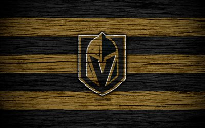 vegas golden knights, 4k, nhl, hockey-club, western conference, usa, logo, holz-textur, hockey, pacific division