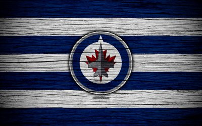 winnipeg jets, 4k, nhl, hockey-club, western conference, usa, logo, holz-textur, hockey, central division