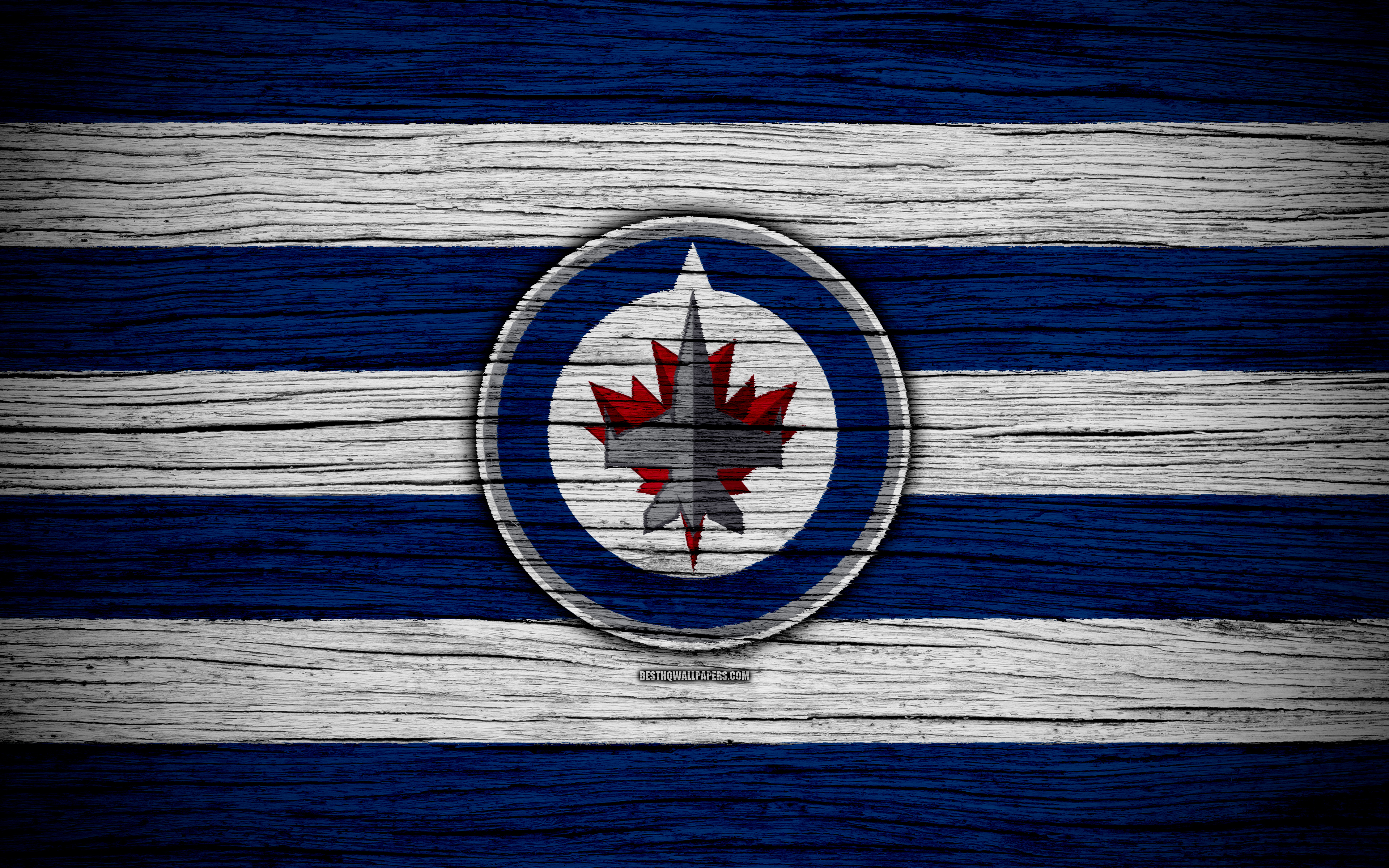 download wallpapers winnipeg jets  4k  nhl  hockey club  western conference  usa  logo  wooden