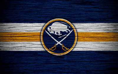 buffalo sabres, 4k, nhl, hockey-club, eastern conference, usa, logo, holz-textur, hockey, atlantic division