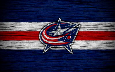 columbus blue jackets, 4k, nhl, hockey-club, eastern conference, usa, logo, holz-textur, hockey, metropolitan division