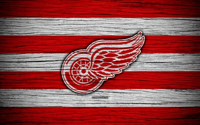 detroit red wings, 4k, nhl, hockey-club, eastern conference, usa, logo, holz-textur, hockey, atlantic division