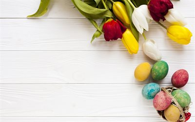 Easter, red tulips, spring, yellow tulips, Easter eggs