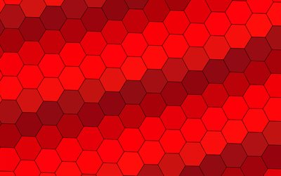 red hexagons background, 4k, material design, grid, geometric shapes, red background, grid pattern, hexagons textures