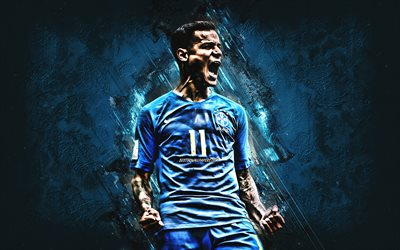 Philippe Coutinho, Brazil national football team, striker, joy, blue stone, famous footballers, football, Brazilian footballers, grunge, Brazil, Coutinho