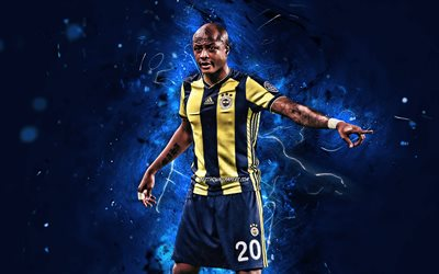 Andre Ayew, close-up, Fenerbahce FC, soccer, ghanaian footballers, Andre Morgan Rami Ayew, neon lights, abstract art, Turkish Super Lig, Dede Ayew, Turkey, Fenerbahce SK