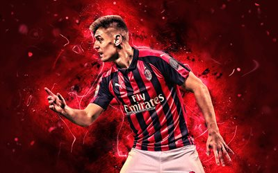 Krzysztof Piatek, close-up, AC Milan, polish footballers, Italy, soccer, Serie A, Piatek, football, neon lights, Milan FC, joy, Rossoneri, creative, Piatek Milan