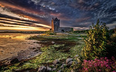 Dunguaire Castle, stone fortress, Galway Bay, sunset, Dun Guair, Galway, Ireland, UK, Irish landmarks, United Kingdom, HDR