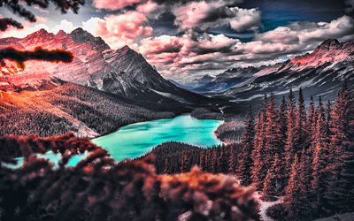 Peyto Lake, HDR, autumn, Banff National Park, forest, Canadian Rockies, mountains, North America, Canada