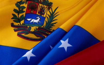 Flag of Venezuela, silk flag, coat of arms, Venezuelan flag, national symbol, Venezuela