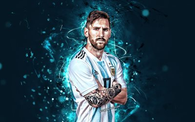 Lionel Messi, close-up, Argentina national football team, football stars, Leo Messi, soccer, Messi, abstract art, Argentine National Team, footballers