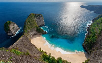 Indian Ocean, Kelingking Beach, summer, seascape, beach, rocks, secret places to relax, Nusa Penida, Indonesia