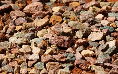 brown pebbles, 4k, brown gravel, macro, brown stone texture, pebbles backgrounds, gravel textures, pebbles textures, stone backgrounds, brown stones, brown backgrounds, pebbles