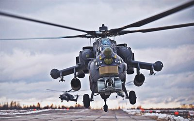 Mi-28, winter, attack helicopters, Havoc, Mil Mi-28, Russian Air Force, russian military helicopter, Mil Helicopters, Russian Army