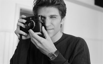 Keegan Allen, american actor, portrait, photoshoot, monochrome, popular actors