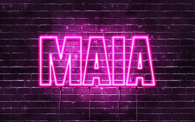 Maia, 4k, wallpapers with names, female names, Maia name, purple neon lights, horizontal text, picture with Maia name