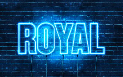 Royal, 4k, wallpapers with names, horizontal text, Royal name, blue neon lights, picture with Royal name