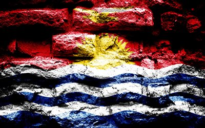 Kiribati flag, grunge brick texture, Flag of Kiribati, flag on brick wall, Kiribati, flags of Oceania countries