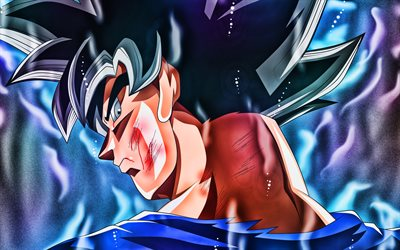 Ultra Instinct de Goku, vue de dos, bleu feu, DBS, close-up, Dragon Ball Super, Super Saiyan Dieu, Migatte Pas Gokui), Dragon Ball, Maîtrisé Ultra Instinct, DBS caractères