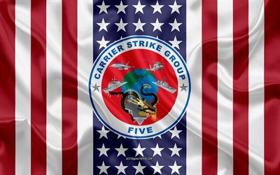 Carrier Strike Group 5 Emblema, CSG-5, USS Ronald Reagan, CVN-76, Bandiera Americana, US Navy, Seta Texture, della Marina degli Stati Uniti, Seta Flag Carrier Strike Group 5, USA