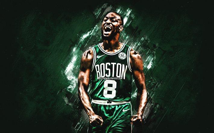 Download Wallpapers Kemba Walker Boston Celtics Nba Portrait American Basketball Player Green Stone Background National Basketball Association Basketball For Desktop Free Pictures For Desktop Free