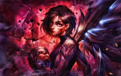 4k, Alita, fan art, 2019 movie, The Alita Battle Angel, Rosa Salazar, artwork