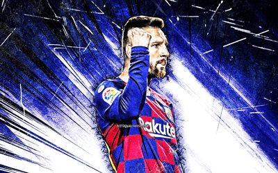 4K, Lionel Messi, grunge art, Barcelona FC, argentinian footballers, close-up, FCB, football stars, La Liga, Messi, 2019, Leo Messi, Lionel Messi 4K, LaLiga, Spain, blue abstract rays, Barca, soccer
