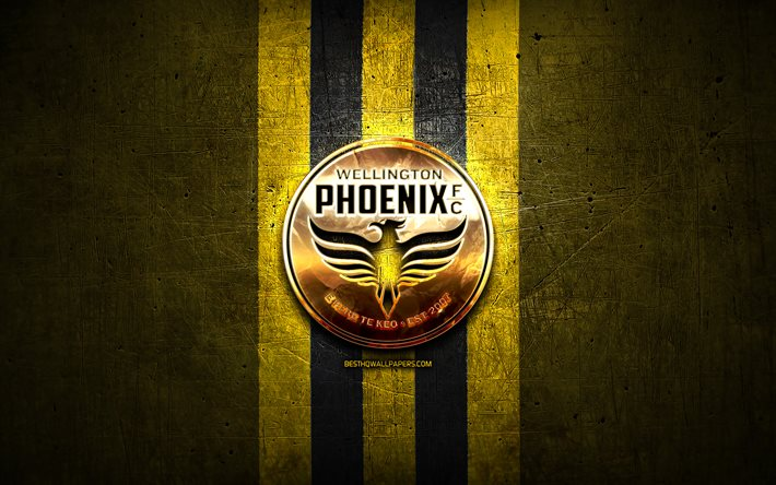 Wellington Phoenix FC, golden logo, A-League, yellow metal background, football, Wellington Phoenix, Australian football club, Wellington Phoenix logo, soccer, Australia