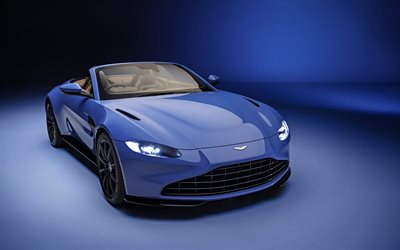 2021, Aston Martin Vantage Roadster, 4K, exterior, front view, blue luxury coupe, blue convertible, new blue Vantage Roadster, British cars, Aston Martin