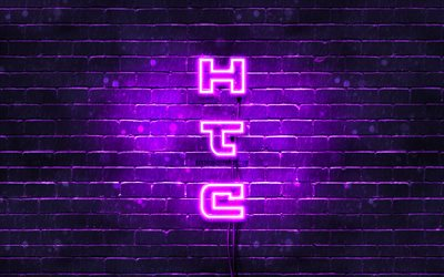 4K, HTC violet logo, vertical text, violet brickwall, HTC neon logo, creative, HTC logo, artwork, HTC