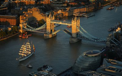 Tower Bridge, Thames River, London, England, evening, sunset, Great Britain