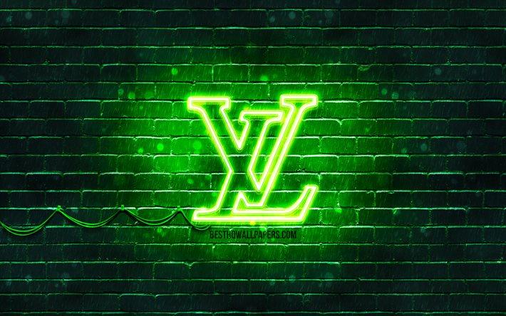 Download Wallpapers Louis Vuitton Green Logo 4k Green Brickwall Louis Vuitton Logo Brands Louis Vuitton Neon Logo Louis Vuitton For Desktop Free Pictures For Desktop Free