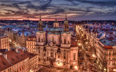 Prague at evening, nightscapes, streets, HDR, Czech Republic, Prague, Europe