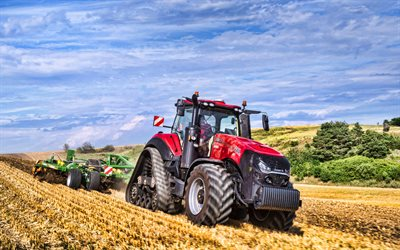 Case IH Magnum 380 RowTrac, 4k, plowing field, 2020 tractors, agricultural machinery, red tractor, crawler tractor, HDR, tractor in the field, agriculture, harvest, Case