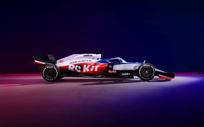 Williams FW43, 2020, Formula 1, 4k, side view, F1 racing cars 2020, F1, Williams Grand Prix Engineering, ROKiT Williams Racing